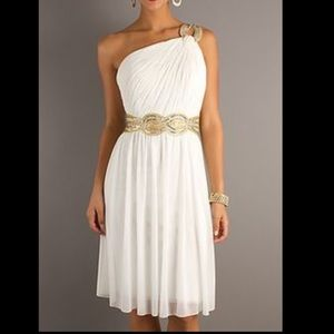 PromGirl Ivory One Shoulder Formal Dress Sz 14